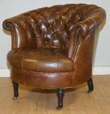 VINTAGE BROWN LEATHER CHESTERFIELD FULLY BUTTONED CLUB ARMCHAIR
