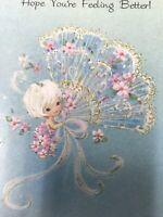 Vintage Get Well Card Fairy Angel Cherub White Hair Aqua Fan