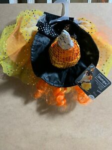 PetCo Bootique Candy Corn Witch Dog Halloween Costume Orange S/M B18