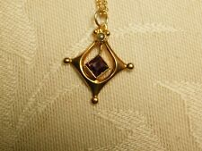 Antique Victorian 10k Yellow Gold Amethyst Pearl Lavalier Drop Pendant Necklace