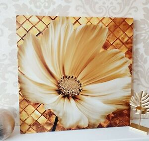 NEW LARGE FLOWER FLORAL CANVAS IN YELLOW GOLD WALL HANGING ART FRAMED HOME DECOR