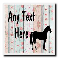 Horse Shabby Wood Personalised Drinks Mat Coaster