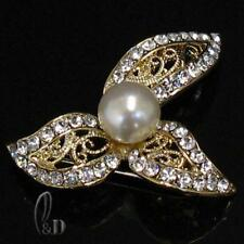 Crystal & Pearl Gold Brooch br013-2 Au Seller Sparkling Made With Swarovski