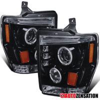 For 2008-2010 F250 F350 F450 Glossy Black Smoke LED Halo Projector Headlights
