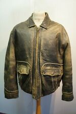 VINTAGE 80's RED TIPS HEAVY LEATHER MOTORCYCLE JACKET SIZE XL ACE PATINA