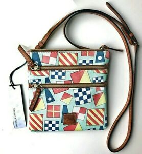 Dooney & Bourke North South Triple Zip Exclusive Geometric Blue Messenger Bag