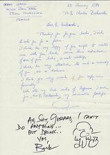Charles BUKOWSKI  Note autographe signée, enrichie d'un autoportrait