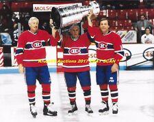 MAURICE RICHARD~JEAN BELIVEAU~GUY LAFLEUR Pose w/CUP 8x10 Photo CANADIENS HOFer