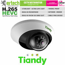 TIANDY H.265 STARLIGHT 2MP 1080P WDR MIC AUDIO SD-CARD POE SMART DOME IP CAMERA