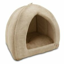 Durable Dog Plush Bed for Large Dogs Cats Pets Warm Puppy Covered Tan Tent Cozy