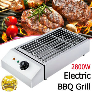 2800W Electric Table Top Grill BBQ Barbecue Garden Camping Cooking Non Stick UK