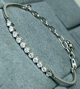 "18K White Gold Diamond Contemporary Link Bracelet Heart Charm 5-6.25"" XSmall"