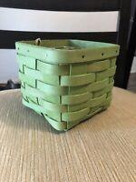 LONGABERGER Summer Brights Square Teaspoon Basket Bright Green NEW