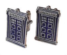 Doctor Who Tardis Police Call Box Enamel Finish Metal Cufflinks