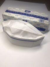 Royal Blue Stripe Classy White Chefs Caps/Hats, Open Box 68 Count Rcc2
