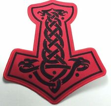 THOR HAMMER BLACK  EMBROIDERED BACK PATCH