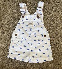 Oshkosh Girl's Printed Heart Short Overalls Sz 12M White Blue