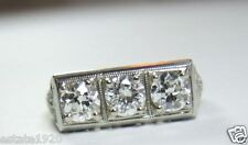 Vintage Antique Diamond Engagement Ring 18K White Gold Size 4.75 UK-J EGL USA