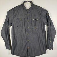 Sean John Mens Shirt Button Up Long Sleeve 100% Cotton Size 2XL Dark Gray