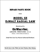 Dewalt Model GE Manual Radial Arm Saw Parts
