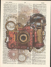 Steampunk Bronze Camera Gears Altered Art Print Upcycled Vintage Dictionary