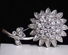 Vintage LG Detailed Cutaway Tiered Silver Tone Diamante Rhinestone Flower Brooch