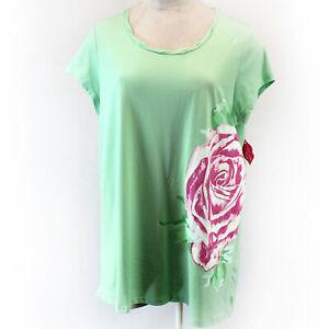 Goodnight Kiss Plus Green Rose Print Short Sleeve Nightie Sleep Shirt 3X