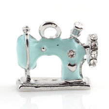 5 Stunning Pale Blue Sewing Machine Charm Pendants with Clear Rhinestone Detail