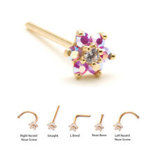Yellow Gold Nose Ring Stud Screw Bone L Bend Pink Aurora Flower 18G 20G 22G