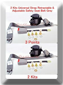 2 Kits Universal Strap Retractable & Adjustable Safety Seat Belt Grey 3 Point