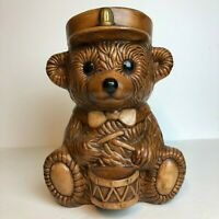 Vintage 1950s Great American Pottery Art Drummer Teddy Bear Cookie Jar Kitchen