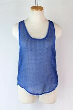 FREE PEOPLE Mesh Tank Top SMALL Royal Blue Racer Back Sheer