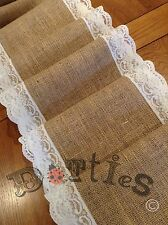 "7ft X 12"" Wide Hessian And Lace Table Runner"