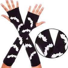Black/White Fingerless Gloves Arm Warmers Bat Logo Halloween Arm Gauntlets OS US