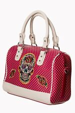 Magenta Mexican Candy Sugar Skull Polka Dot Retro Gothic Handbag Banned Apparel