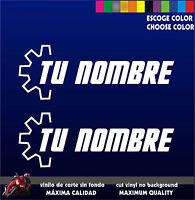 PEGATINAS PERSONALIZABLES (X2) -  LOGO MOTOR  -Tu Nombre (o texto) - Moto Coche