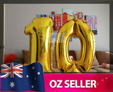 """Gold Foil Helium number balloon - 10th Brithday Party 40"""" inch / 100cm AUS STOCK"""