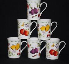 SET OF 6 FINE BONE CHINA SUMMER FRUIT LEMONS PEARS APPLES MUGS CUPS GIFT SET