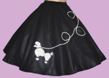 """6 PC BLACK 50's POODLE SKIRT OUTFIT ADULT SIZE SMALL WAIST 25""""-32"""" Length 25"""""""