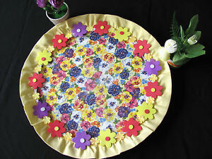 HANDMADE GLASS DECORATIVE PLATE ACRYL MULTI COLORS WITH FABRIC EDGE+FLOWERS GIFT