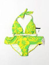 New Women Ralph Lauren Green Yellow Halter Hipster Floral Bikini Bathing Suit XS