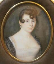 Finamente pintadas francés georgiano período retrato Miniatura de una bonita señorita