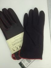 Women's RALPH LAUREN Black LEATHER & WOOL Gloves - size S - $48 MSRP