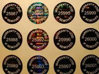 100 ROUND BLACK HOLOGRAM WARRANTY VOID SECURITY LABELS STICKERS SERIAL NUMBERS