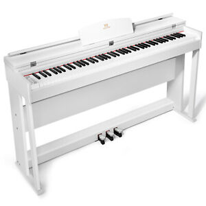 88 Key Full Size Weighted Hammer Digital Piano Electric Keyboard Stand White