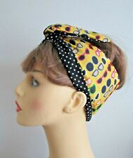 Rockabilly Yellow Sun glasses Print Wide or Narrow Wired Headband reversible