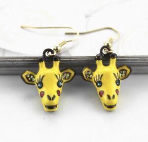 Cute Yellow Drop Gem Giraffe Zoo Animal Earrings Crystal Eyes Quirky Jewellery