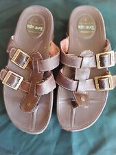 Skechers 46692 Womens Slip On Sandals Size 9 Toning Brown Leather Tone Ups
