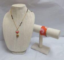 David Aubrey Necklace w/Wrapped Coral Bead Pendant/Two's Company Cuff Bracelet