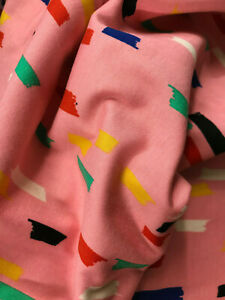 Multicoloured with pink backround cotton jersey dress fabric